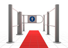 Gate into secured area. A three-dimensional gateway along a red carpet into a secured or restricted area royalty free illustration