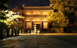 Gate of Shitennoji Temple at night, Japan Stock Photography