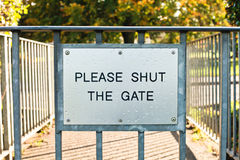 Gate sign Stock Images