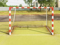 Gate for small football or handball in small stadium. Royalty Free Stock Photography
