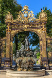 Gate Stanislas Nancy. Fountain of Neptune and Gate Stanislas, Nancy, France Royalty Free Stock Photo