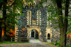 Gate of stone into castle Royalty Free Stock Images