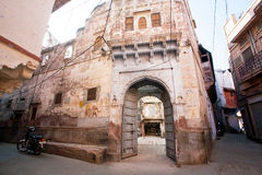 Gate of the stone house in historical area of city Royalty Free Stock Image