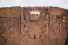 Gate of the Sun. Kalasasaya Temple. Tiwuanaku Archaeological site in Bolivia royalty free stock image