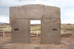 The Gate of the Sun, Tiwanaku, Bolivia Royalty Free Stock Photo