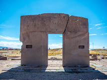 Gate of the Sun in Tiwanaku Bolivia stock images