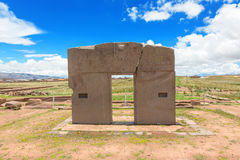 Gate of the Sun, Tiwanaku ruins, Bolivia Royalty Free Stock Images