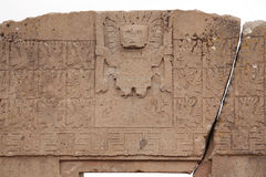 The Gate of the Sun with Viracocha god, Tiwanaku, Bolivia. Famous landmark the Gate of the Sun in Tiwanaku, Pre-Columbian civilization, Bolivia. Closeup with stock photography