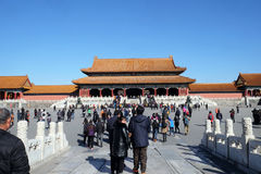 The gate of Supreme Harmony in the Forbidden City, Beijing Stock Photo