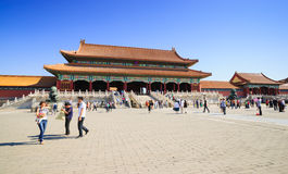 The Gate of Supreme Harmony in Forbidden City Stock Images