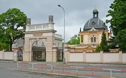 Gate and a synagogue of the Jewish part of the Olshansky cemetery Stock Image
