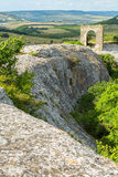 Gate on Tapshan Plateau of Cave City in Cherkez-Kermen Valley, Crimea Stock Images
