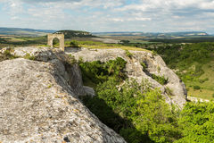 Gate on Tapshan Plateau of Cave City in Cherkez-Kermen Valley, Crimea Royalty Free Stock Photos