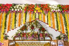 Gate of a temple of India decorated by flower, art and craft stock photo