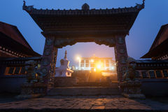 Gate of the Tengboche monastery at night Stock Photography