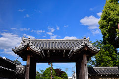 The gate of Tenryuji temple, Arashiyama Kyoto Japan. Wooden gate of Tenryuji temple and summer sky, in Arashiyama district, Kyoto Japan Stock Photos