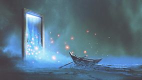 The gate to another world. Fantasy scenery of the abandoned boat on the shore near the mystery door, digital art style, illustration painting Stock Photos