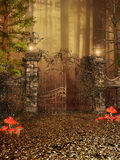 Gate to an autumn forest Royalty Free Stock Photo