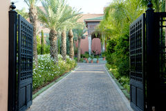 Gate to beautiful palace and garden, Marrakesh stock photography