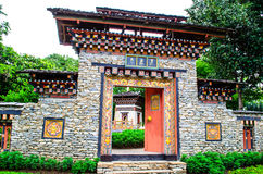 Gate to Bhutan enclosure. A traditional gateway to a Bhutan enclosure Royalty Free Stock Photography