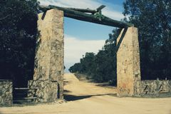 Gate to a camp at the Great Ocean Road royalty free stock image