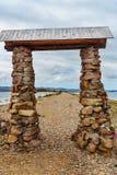 Cape Uyuga. Maloe More on Lake Baikal. Russia. Gate to Cape Uyuga. Maloe More on Lake Baikal in the morning. Russia Stock Images