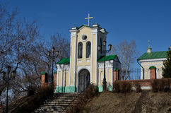 Gate to the Catholic Church. Gate to the territory of Catholic Church of Intercession of Holy Virgin in Tomsk, Siberia, Russia Royalty Free Stock Image