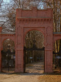 The gate to the cemetery. Royalty Free Stock Photo