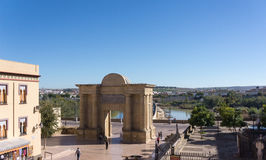 The gate to Cordoba is located on the site of previous Roman and Moorish gates, in front  the  Bridge. Stock Photo