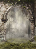 Gate to a foggy forest Royalty Free Stock Photography