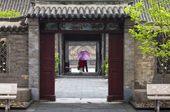 Gate to a garden. An old style gate to a garden within a temple, Xingcheng, northeast China Royalty Free Stock Images
