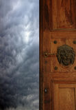 Gate to heaven. Door to heaven with the head of a lion Stock Images