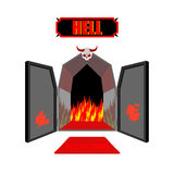 Gate to hell. Entrance to hellish Inferno. Access to Satan. Flam Royalty Free Stock Photos