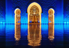 Gate to the inner peace. This shot was taken in Abu Dhabi Grand Mosque during the night time Stock Photos