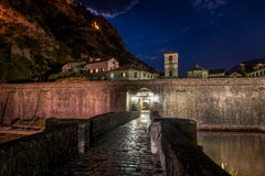 Gate to Kotor ancient fortress at night Royalty Free Stock Photo