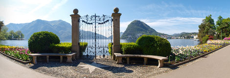 The gate to the lake in the park of Villa Ciani Royalty Free Stock Photography