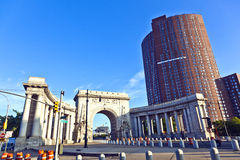 Gate to manhattan Bridge in new Stock Image