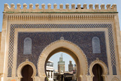 Gate to the medina. The Bab Bou Jeloud gate to the ancient medina of Fes, Morocco Royalty Free Stock Photography