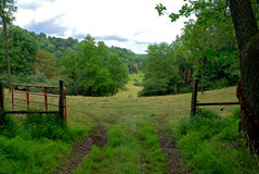 Gate to mountain view. Hills of West Virginia a seen through open gate Royalty Free Stock Photos
