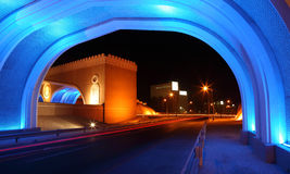 Gate to Muttrah at night, Oman Stock Photos