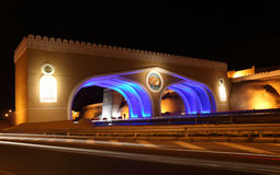 Gate to Muttrah at night Oman Stock Photography