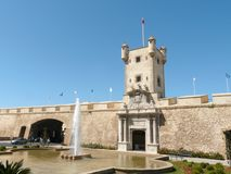 The gate to old Cadiz. The gate allowing the access to the fortified part of Cadiz's old town royalty free stock images