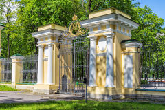 Gate to the Palace Garden of the Kamennoostrovsky Palace. On Kamenny Island in St. Petersburg with the Monogram of Emperor Alexander I Royalty Free Stock Photos