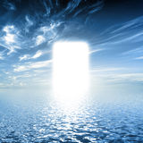 Gate to paradise, way on water towards light, new world, God. Gate to paradise, way on water towards light, new world. Concepts for religion, God, hope, faith royalty free stock images