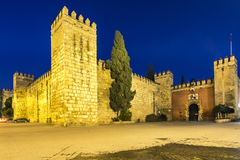 Gate to Real Alcazar Gardens in Seville in Andalusia, Spain. Night view of the Gate and wall to Real Alcazar Gardens in Seville in Andalusia, Spain Royalty Free Stock Photos