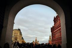 Gate to Red Square. Crowd at gate to Red Square Stock Photos