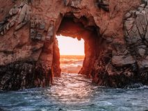 Gate to the sea on the Pacific Coast royalty free stock photography