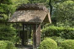 Gate to tea house garden, Japan stock photography