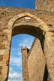 Gate to the town and Montalcino Fortress wall in Val d`Orcia, Tu Stock Photography