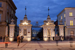 Gate to the University of Warsaw at Night Royalty Free Stock Photo